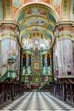 约翰浸礼会大教堂内部在波兰 免版税图库摄影