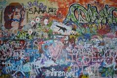 约翰・伦农墙壁在布拉格,捷克 库存图片