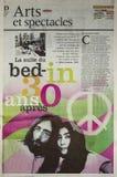 约翰・列侬和小野洋子s床在 免版税库存图片