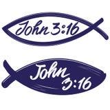 约翰3:16在鱼的背景,基督教手拉的传染媒介的书法文本标志的行情 库存例证