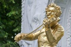 约翰・施特劳斯纪念碑,维也纳,奥地利, 库存图片