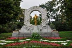 约翰・施特劳斯纪念碑,维也纳,奥地利 库存图片