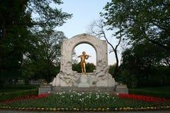 约翰・施特劳斯纪念碑(Stadtpark,维恩) 库存照片