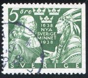 约翰Printz和印第安酋长 库存照片
