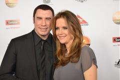 约翰Travolta和妻子凯利普雷斯顿 免版税库存图片