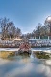级联喷泉Granja la宫殿西班牙 免版税图库摄影
