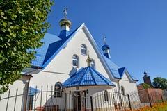 以纪念上帝`标志`的母亲的象的寺庙片段 Znamensk,加里宁格勒地区 库存图片