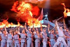 纪念中国反日战争的胜利的第70周年的文艺展示 库存图片