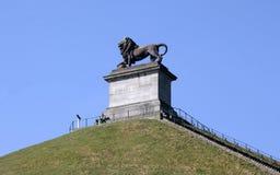 纪念争斗的狮子的土墩在滑铁卢,比利时 免版税库存照片