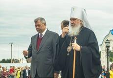 以纪念俄罗斯的解放的536 Th周年的开幕活动从蒙古鞑靼人的轭的在卡卢加州地区 免版税库存图片