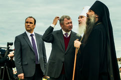 以纪念俄罗斯的解放的536 Th周年的开幕活动从蒙古鞑靼人的轭的在卡卢加州地区 免版税库存照片