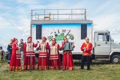 以纪念俄罗斯的解放的536 Th周年的节日音乐会从蒙古鞑靼人的轭的在卡卢加州地区 库存图片