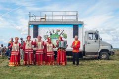以纪念俄罗斯的解放的536 Th周年的节日音乐会从蒙古鞑靼人的轭的在卡卢加州地区 免版税库存图片