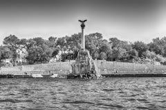 纪念凹下去的船,偶象纪念碑在塞瓦斯托波尔,克里米亚 库存图片