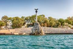 纪念凹下去的船,偶象纪念碑在塞瓦斯托波尔,克里米亚 免版税库存图片