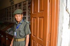 纪念博物馆的廓尔喀人战士,博克拉,尼泊尔 免版税库存照片