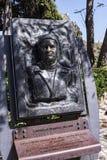 纪念品作家由城堡或老堡垒的劳伦斯Durrell在科孚岛希腊海岛上的科孚岛镇  库存图片