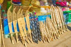 纪念品在Kyaiktiyo市场,缅甸上 库存照片