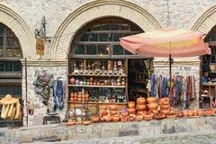 纪念品店在Sheki,阿塞拜疆 免版税库存照片