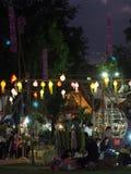纪念品物品在逗人喜爱的旅游目的地镇销售生活方式:泰国的楠府 图库摄影