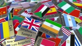 纪念品磁铁或徽章与喀土穆文本和国旗在不同那些中 旅行到苏丹概念性介绍 皇族释放例证