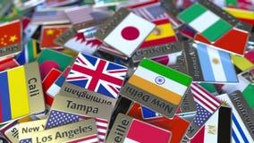 纪念品磁铁或徽章与札幌文本和国旗在不同那些中 旅行到日本概念性介绍 库存例证