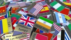 纪念品磁铁或徽章与芝加哥文本和国旗在不同那些中 前往美国 库存例证