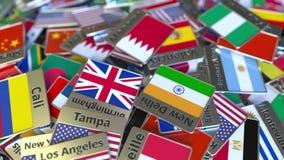 纪念品磁铁或徽章与麦纳麦文本和国旗在不同那些中 旅行到巴林概念性介绍 股票视频