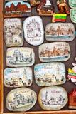 纪念品磁铁有维尔纽斯和特拉凯,立陶宛看法  库存图片
