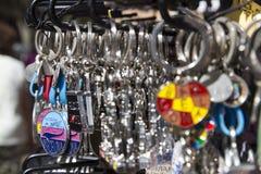 纪念品钥匙圈,巴塞罗那 免版税库存照片
