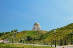 以纪念回教的采用的难忘的标志由bulgars的在922 Bulgar,俄罗斯 免版税图库摄影