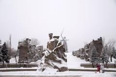 纪念复杂Mamayev库尔干在伏尔加格勒英雄镇  库存图片