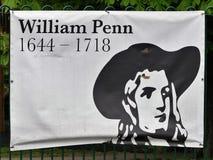 纪念威廉・佩恩、早期的英国北美洲殖民地的交友派信徒和创建者的生活标志Pennsy省  免版税库存照片