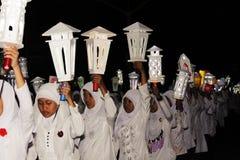 纪念游行Eid 1 Syawal 1435 H Nganjuk市,东爪哇省, Ind 库存图片