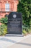 纪念碑为在poviat长老旁边记住波兰士兵Wladyslaw Szczypa在Pulawy 库存照片