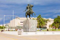 纪念碑伟大的亚历山大,塞萨罗尼基 库存照片