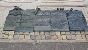 纪念碑在格但斯克,匾 库存图片