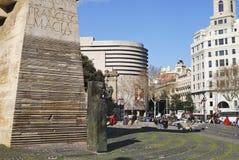 纪念碑在Placa de Catalunya。巴塞罗那。西班牙 库存照片