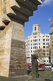 纪念碑在Placa de Catalunya。巴塞罗那。西班牙 库存图片