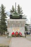 纪念碑坦克T-34在胜利天 免版税库存照片