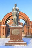 纪念碑对皇帝尼古拉二世和Tsesarevich阿列克谢冬天da 免版税库存照片