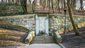 纪念碑战斗与一条龙在Striysky公园在利沃夫州,乌克兰的喷泉战斗机 库存照片