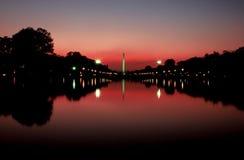 纪念碑日落华盛顿 免版税库存图片