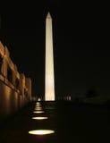 纪念碑晚上华盛顿 库存图片