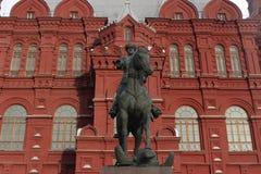 纪念碑格奥尔基・康斯坦丁诺维奇・朱可夫 莫斯科红色俄国广场 免版税库存图片