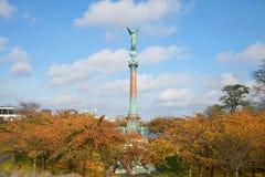 纪念碑的看法对伊瓦尔Huitfeld在Langelinie公园, 11月天海军上将的 哥本哈根丹麦 免版税库存照片