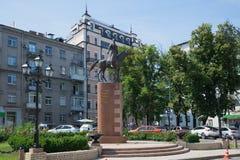 纪念碑的看法对所有世代(小马的哥萨克人)祖国边界的防御者的  基辅, 库存图片