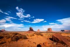 纪念碑谷典型的全景西部土地 库存图片