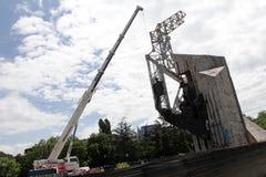 """纪念碑""""1300岁月的爆破近Bulgaria†由NDK在索非亚,保加利亚†""""2017年7月4日 共产主义政权 免版税库存图片"""