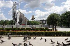 """纪念碑""""1300岁月的爆破近Bulgaria†由NDK在索非亚,保加利亚†""""2017年7月4日 共产主义政权 库存照片"""